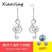 XiaoJing 100% 925 sterling silver diy craft musical note dangle earrings fashion jewelry making for women gifts factory supply