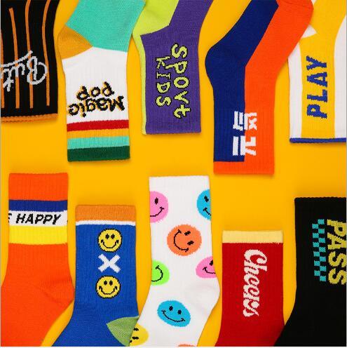 3-12Year 4Pairs Pack Children Socks Autumn Letters Street Sports Style Personality Kids Boy Girls Cartoon Kids Tube Socks 3