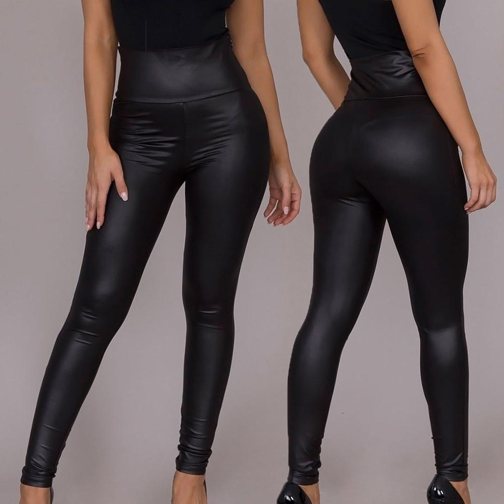 Womens Sexy Leggings High Waist Skinny High Elastic Faux Leather Pants Casual Pants Black Plus Size S-XXL