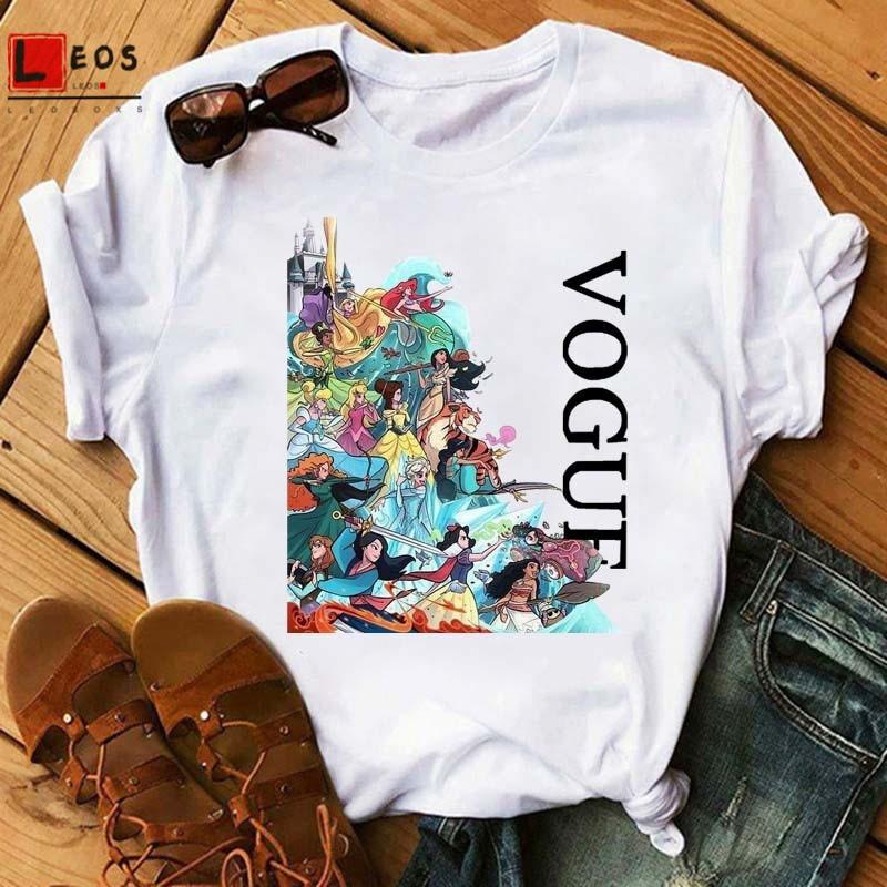 Women T-Shirt Funny Princess Queen Cartoon Cotton For Vogue Short Sleeve Tops Summer Graphic Print Harajuku Lady Tee Shirt