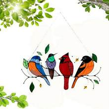 Creative Window Panel Stained Glass Birds-on-a-wire Window Panel Hanging Catcher Home Decoration Accessories Room Decoration
