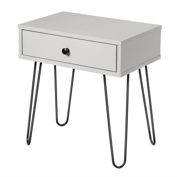 Costway Nightstand Sofa End Table w/One Drawer & Steel Pipe Mid-Century Accent Table