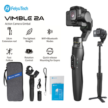 Feiyu GoPro Action Camera Gimbal Stabilizzatore per Gopro Hero 8/7/6/5,18 centimetri Allungabile Polo con il Treppiedi e Borsa per il trasporto Vimble 2A