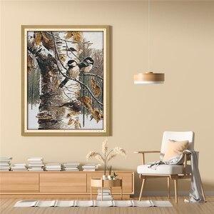 Image 2 - الحيوان الطيور الخريف عرض الأثاث الخياطة المطبوعة عبر الابره عدة التطريز Diy بها بنفسك اليدوية لوحات الزخرفية DMC الإبرة
