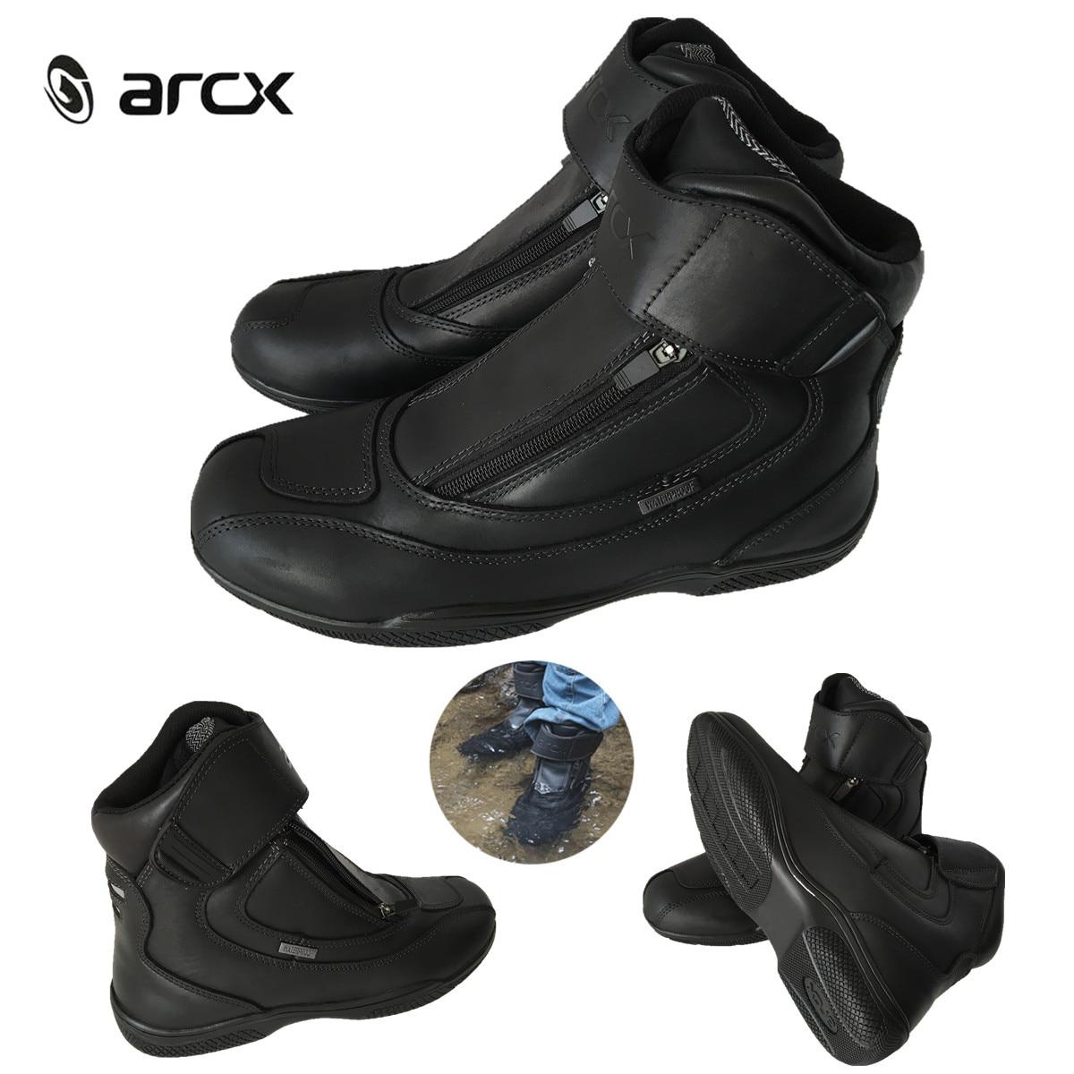 ARCX Motorrad Stiefel Aus Echtem Leder Wasserdicht Straße Moto Racing Ankle Boot Motorrad Cruiser Touring Reiten Lokomotive Schuhe