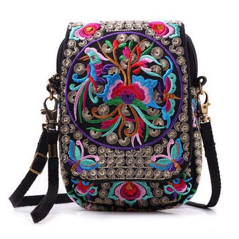 New Floral Embroidered Women's Chinese National Style Shoulder Bag Messenger Crossbody Bag Ladies Travel Purse Bag Hot