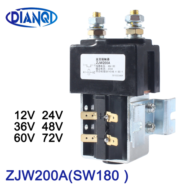 DIANQI SW180 NO (normally open ) style 12V 24V 36V 48V 60V 72V 200A DC Contactor ZJW200A for forklift handling wehicle car winch