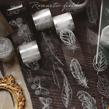 Feather Butterfly Plants Transparent Washi Tape Adhesive Tape Diy Scrapbooking Sticker Label Masking Tape