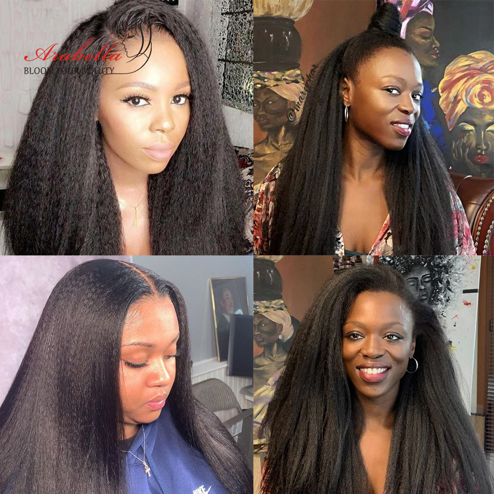 Kinky Straight Wig   13*4 Lace Front Wig With Baby Hair Pre Plucked Arabella  Yaki Closure Wig Glueless 4