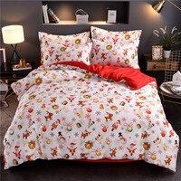 Natal conjunto de cama capa edredão com fronhas papai noel e árvore natal elk têxteis para casa 3pcs navio da gota