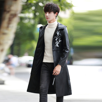 UYUK2019 Fall Collection Features A Long Hooded Printed Leather Jacket For Men In A Casual And Loose Fashion Trend Hombre