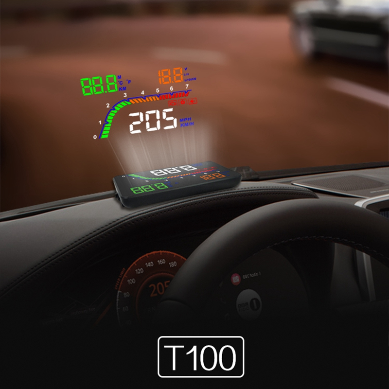 A100S T100 OBD Car Hud Head Up Head Up Display 2019 Temperature Gauge Obd Overspeed Warning System Projector Windshield Pakistan