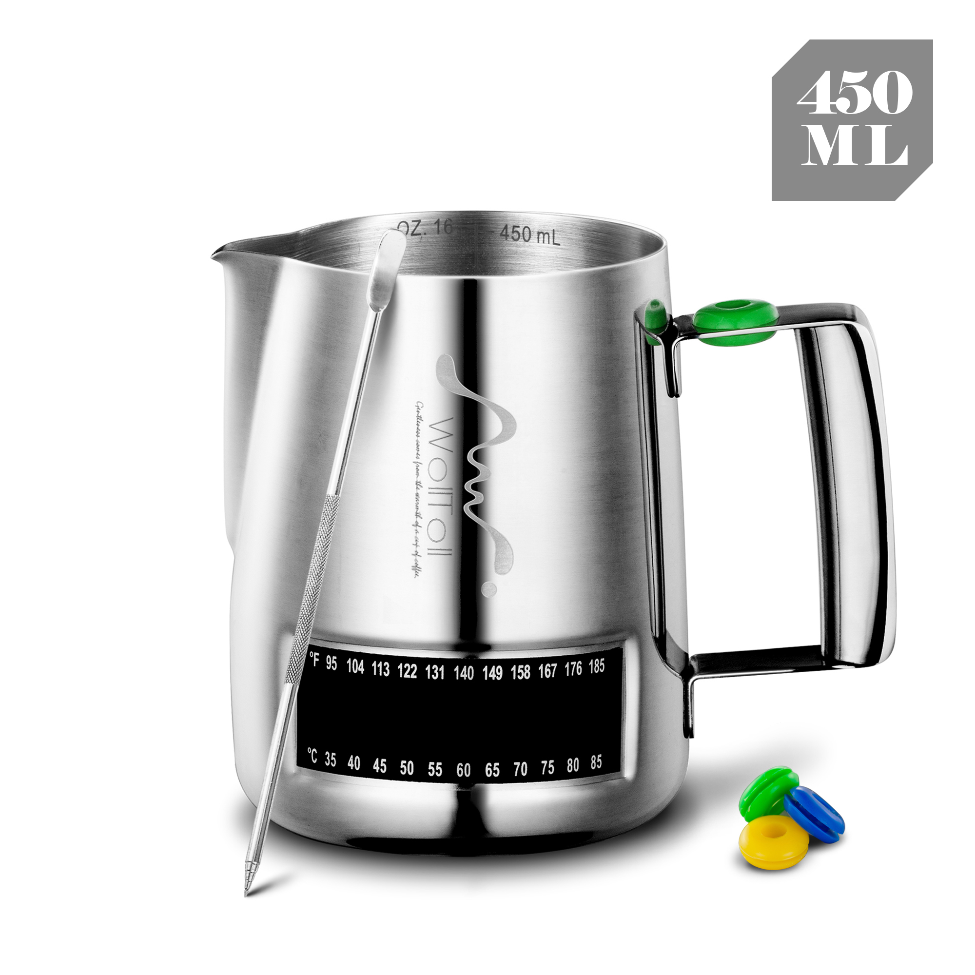 Milk Frothing Pitcher with Thermometer,Stainless Steel 20oz  Steaming Frothing Cup with decoration Art Pen  Creamer milk jug|Milk Jugs| |  - title=
