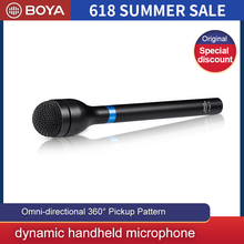 BOYA BY-HM100 Omni-Directional Wireless Handheld Dynamic Microphone XLR Long Handle for ENG & Interviews & News Gathering