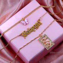 Collier multi-couches en cristal pour femmes, pendentif papillon Dragon, Punk Babygirl, lettres, chaîne de clavicule, bijoux Boho dorés, tendance