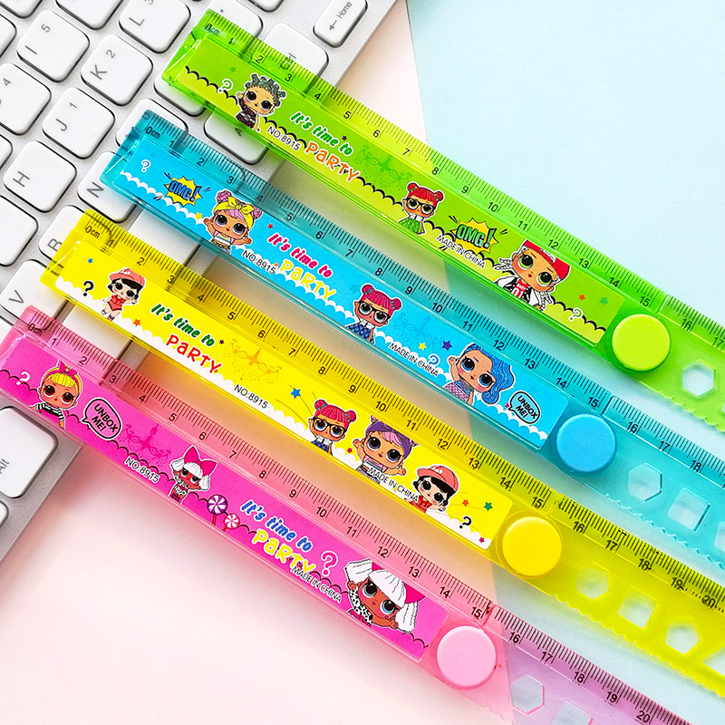 30CM Cute Surprise Lovely Baby Study Time Folding Ruler Multifunction DIY Girl Dolls Drawing Straight Ruler For Kids Stationery