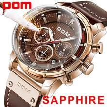 Nouveau 2020DOM saphir Sport montres pour hommes Top marque de luxe militaire en cuir montre-bracelet homme horloge chronographe montre-bracelet