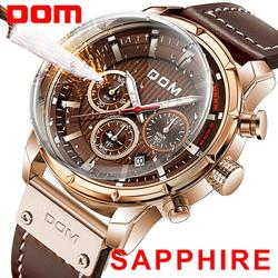 New 2020DOM Sapphire Sport Watches for Men Top Brand Luxury Military Leather Wrist Watch Man Clock Chronograph Wristwatch