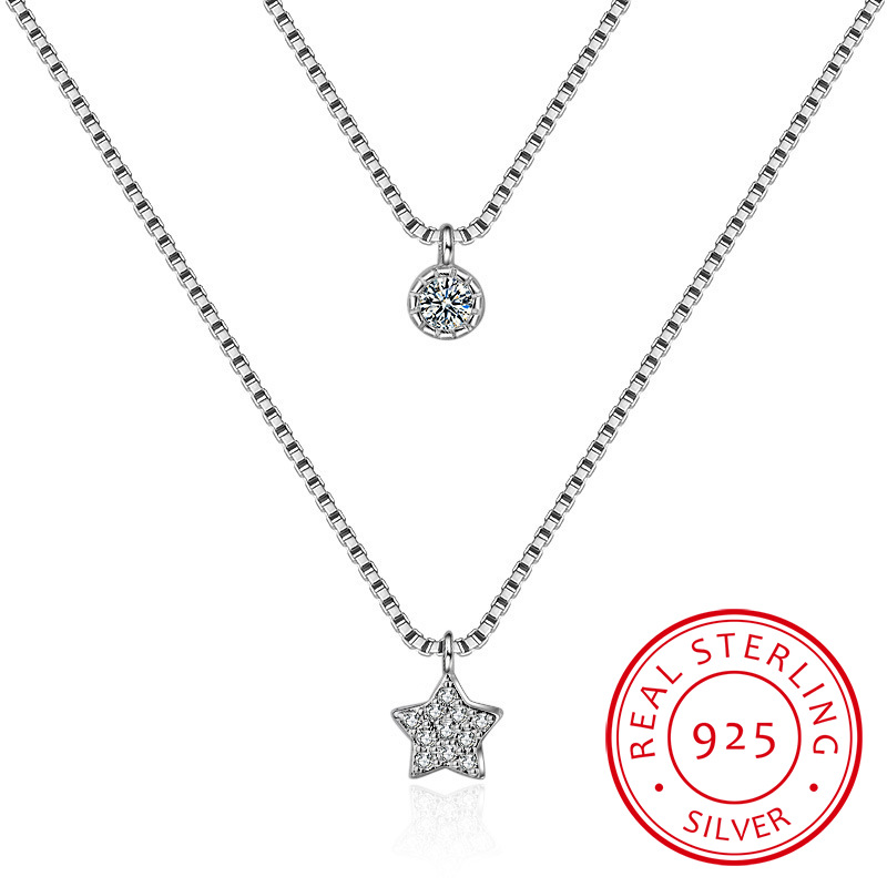 Double-layer Zirconia Star 925 Sterling Silver Necklaces For Women Short Chain Choker Gift S-N390