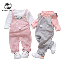 Spring Autumn Newborn Baby Girls Clothes Sets Fashion Suit T-shirt + Pants Suit Baby Girls Outside Wear Sports Suit Clothing Set sale toddler girls clothing set 2018 autumn new fashion sports suit outfits baby girls clothes lace white blouses shirts pants