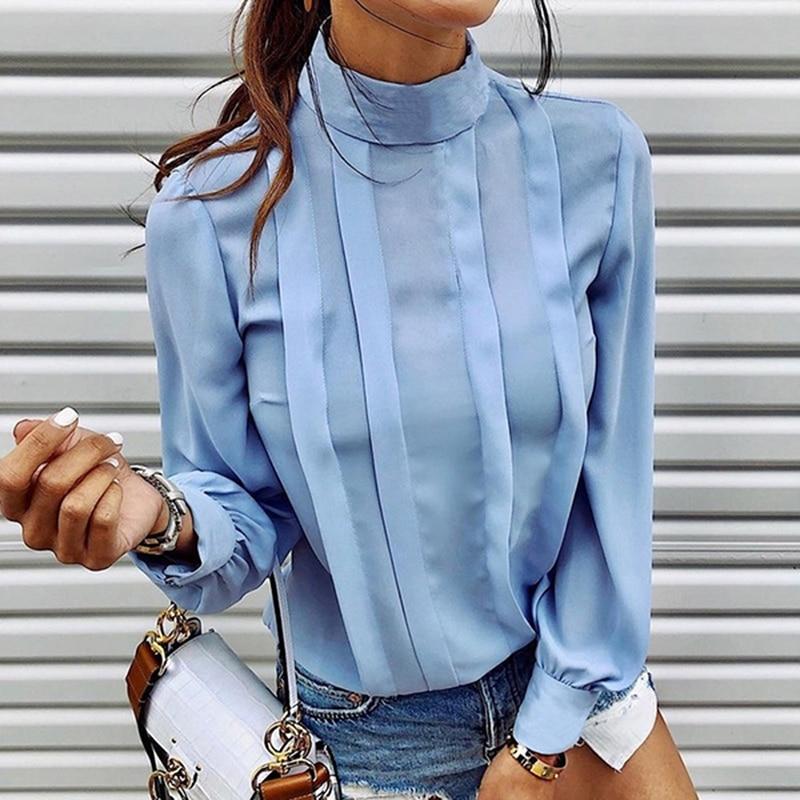 Женская уличная одежда 2020, повседневный Топ, открытая рубашка, женские блузы-водолазки с длинным рукавом, свободные топы на пуговицах