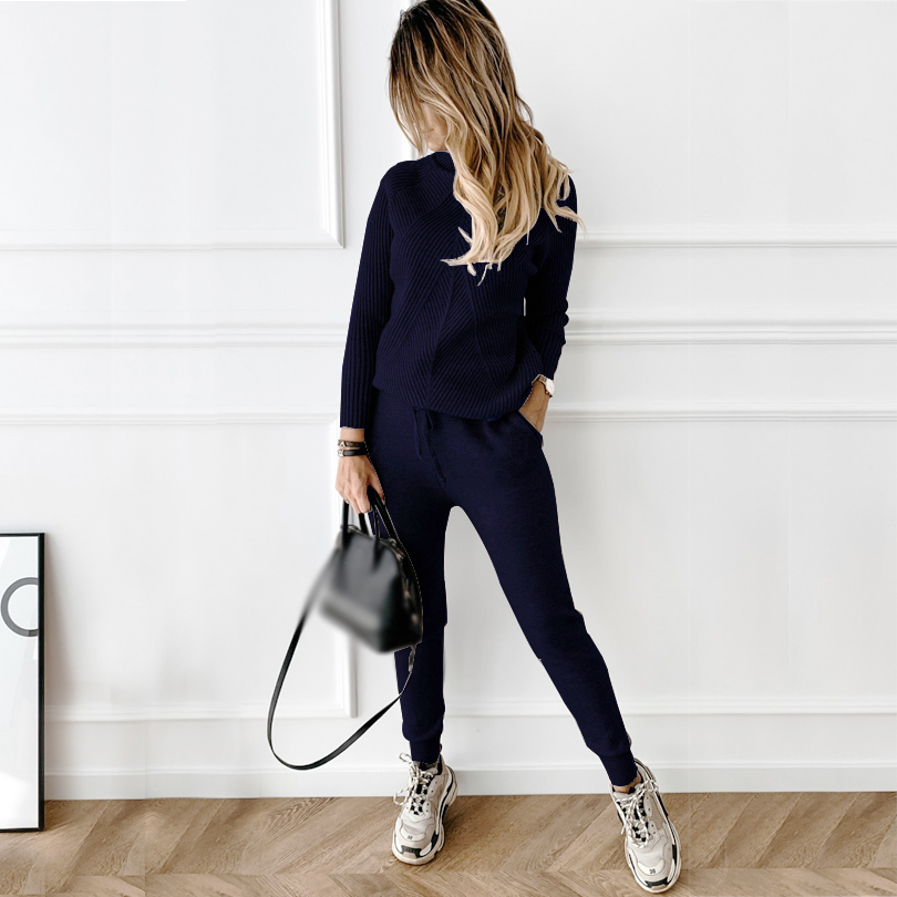 TYHRU Autumn Winter Women's tracksuit Solid Color Striped Turtleneck Sweater and Elastic Trousers Suits Knitted Two Piece Set