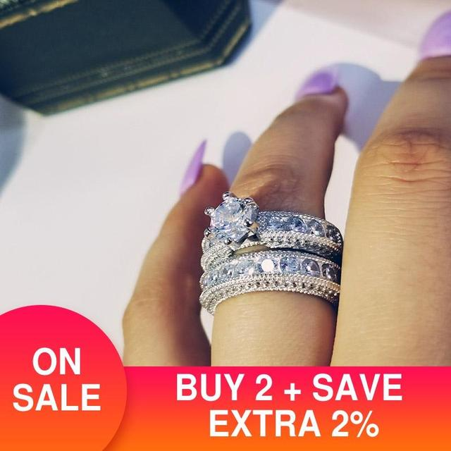 925 Sterling Silver luxury bold big wedding Rings set for bridal Women Engagement african finger christmas gift Jewelry r4428 1