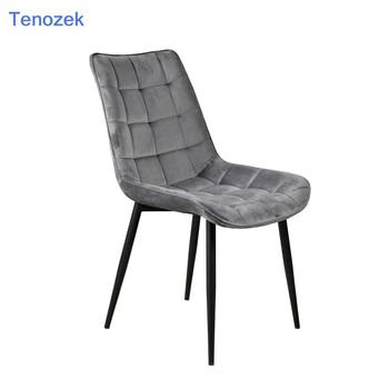 Conjunto de sillas de comedor modernas con 2 patas de Metal, asiento de  terciopelo y respaldo para comedor y sala de espera grey