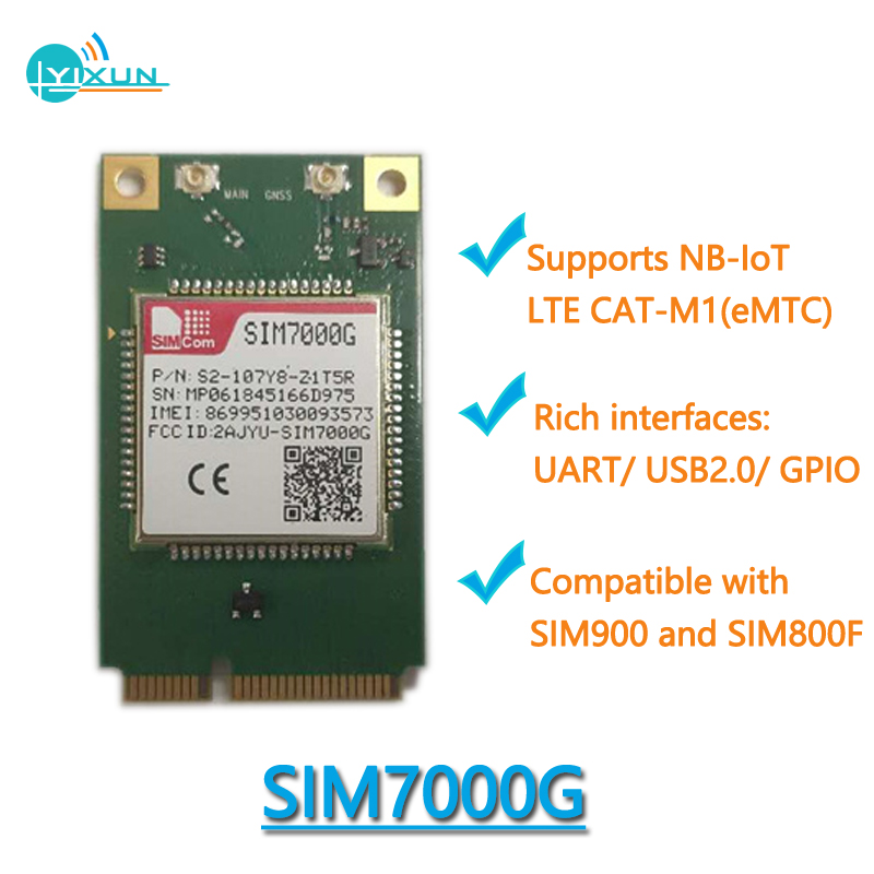 EMTC/NB-IoT/EDGE Module SIM7000G Suited For M2M, Compatible With SIM900 And SIM800F, LTE CAT-M1 Interfaces UART/USB2.0/GPIO
