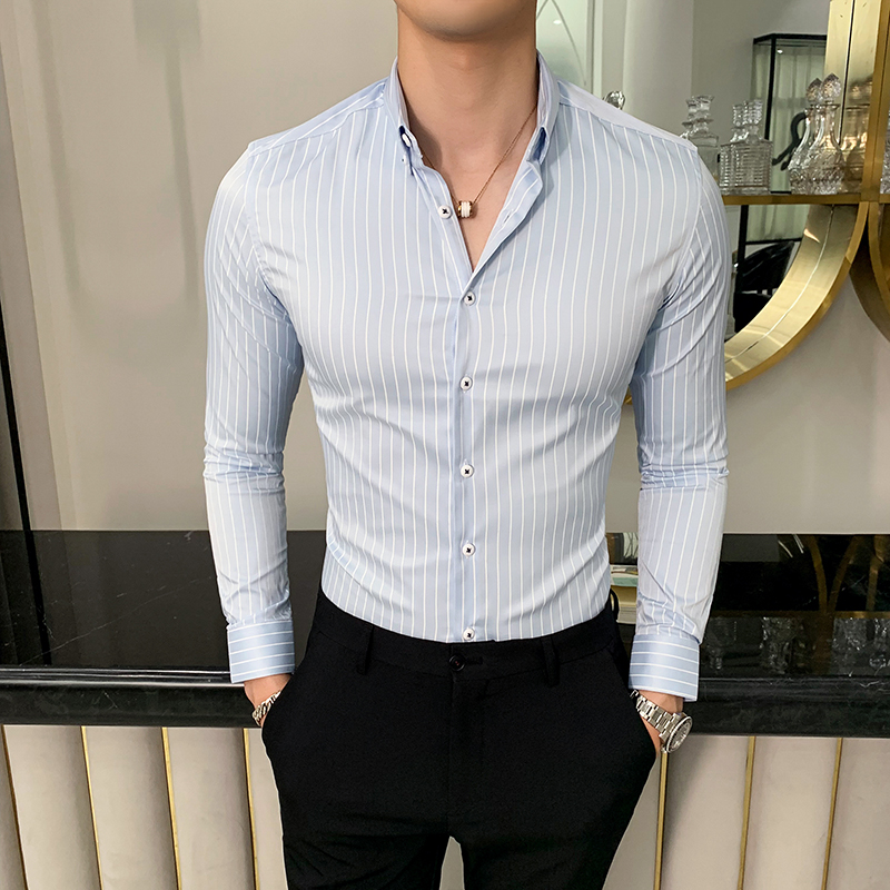 High Quality Men Dress Shirt Long Sleeve Vertical Stripes Shirt Men Slim Fit Casual Formal Wear Business Shirts Men Clothes 2019