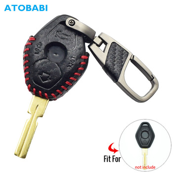 Carbon Leather Car Key Cover For BMW 3 5 7 Series Z3 Z4 X3 X5 M5 325i E38 E39 E46 3 Buttons Remote Fob Case Keychain Protector stenzhorn 433mhz remote key fob 3button for bmw ews x3 x5 z3 z4 1 3 5 7 series 2002 2003 2004 2005 with hu92 blade without chip