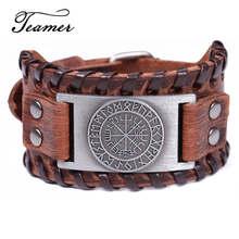 Teamer-Bracelet en cuir véritable Viking nordique pour hommes, Bracelet Vintage, couleur argent, large tresse
