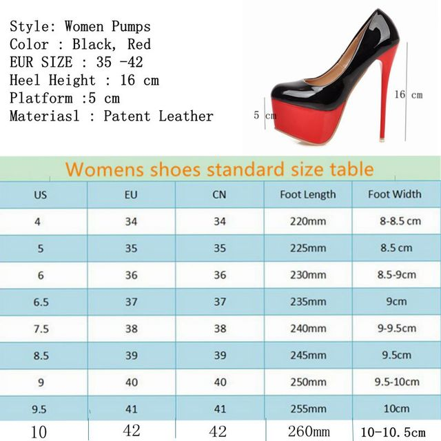 Super Sexy Red Thick Bottom Stiletto Women Pumps Patent Leather 16 cm High Heel Female T-stage Shoes Autumn Heels Big Size 41 42