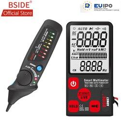 BSIDE ADMS7 inteligentny cyfrowy multimetr 3.5 ''wyświetlacz LCD 3-Line wyświetlacz woltomierz z analogowym bargrafem DMM z AVD06 czujnik napięcia zestaw
