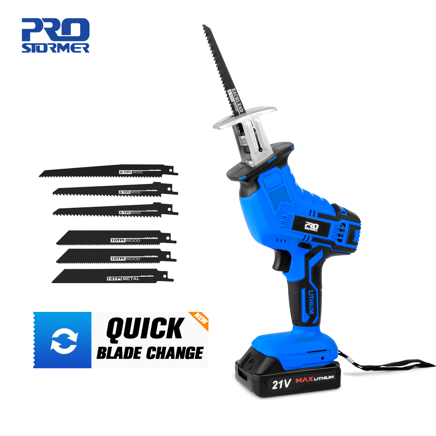 Reciprocating Saw 21V Cordless Wood Metal PVC Pipe Cutting DIY Chain Saw Power Tool by PROSTORMER