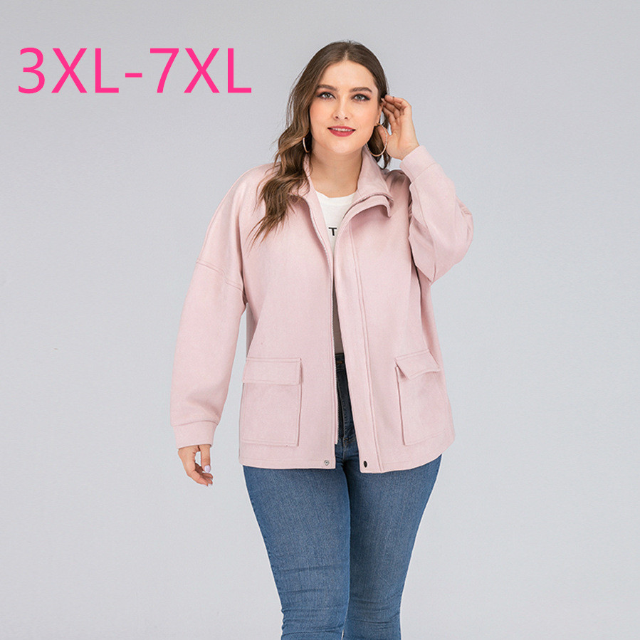 2020 New Spring Autumn Women Plus Size Jacket For Women Large Casual Loose Long Sleeve Zipper Pocket Coats Pink 4XL 5XL 6XL 7XL