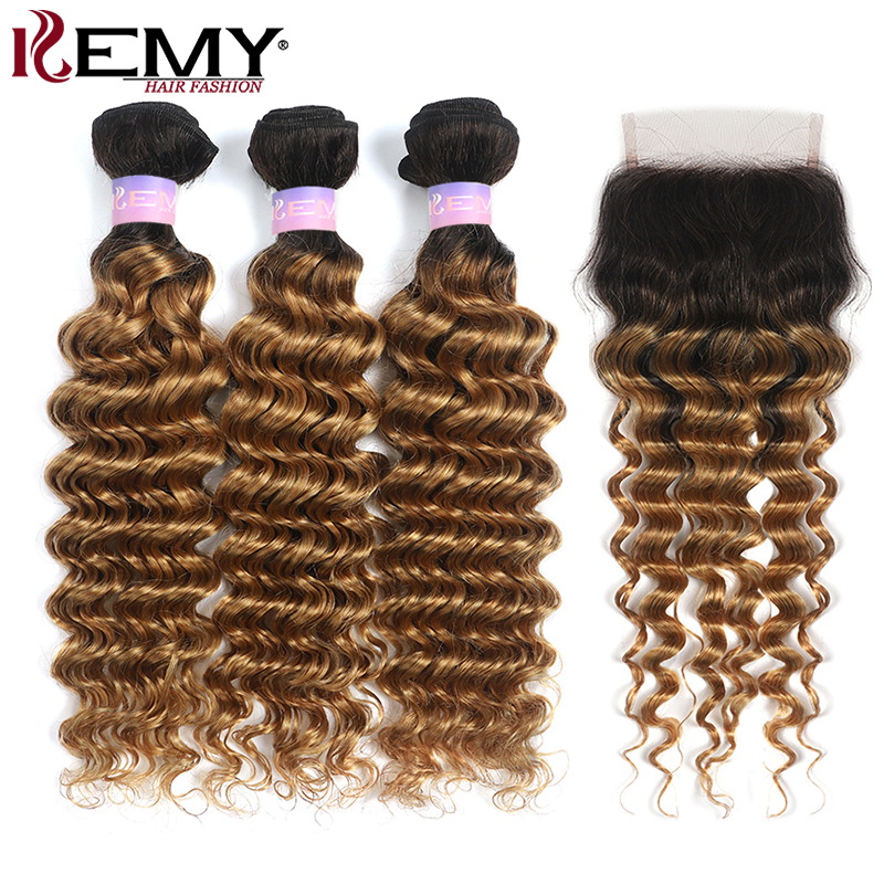 Deep Wave Human Hair Bundles With Closure 4x4 KEMY HAIR T1B/27 Ombre Blonde Hair Weave Bundles With Closure Non-Remy Hair Weft