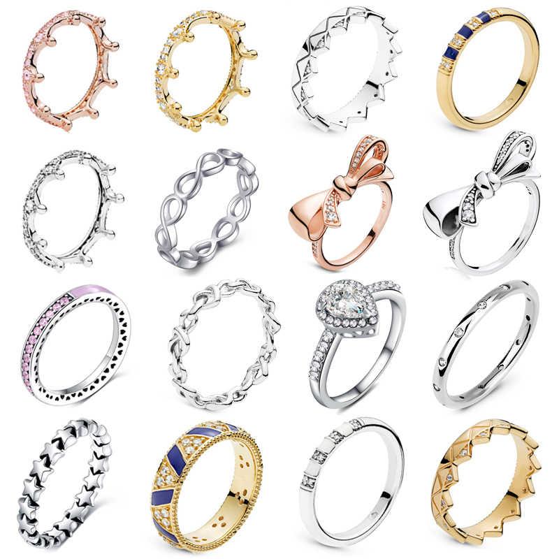 Octbyna kolor srebrny i różowe złoto klasyczne pierścienie nieskończoności dla kobiet ślub księżniczka korona markowy pierścionek biżuteria rocznica