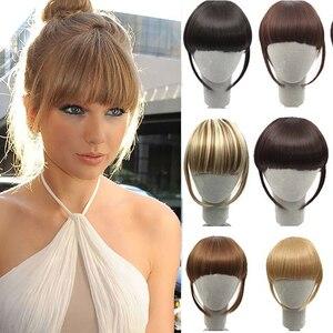 Buqi Fake Bangs False Fringe Clip on Fringe Bangs Black Brown Blonde For adult Women Hair Accessories(China)