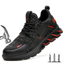Zapatos de seguridad con punta de acero para hombre, calzado antigolpes, antiperforación, transpirable y ligero