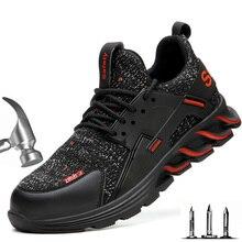 Çelik burun erkek ayakkabıları Anti smashing Anti piercing erkek güvenlik ayakkabıları hafif nefes Deodorant iş ayakkabısı