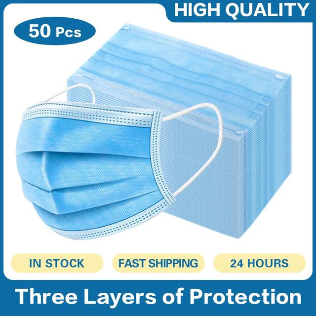 Face Mask 100Pcs/Pack 3 layer  Elastic Mouth Soft Breathable Blue Soft Breathable Flu Hygiene Face Mask Dropshipping