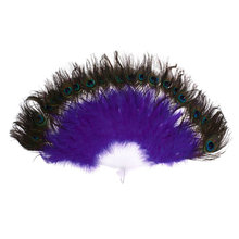 AF88 -Vintage Large Belly Dance Fancy Dress Hand fan Peacock Simulation feather Folding Hand Fan - purple, One Size(China)