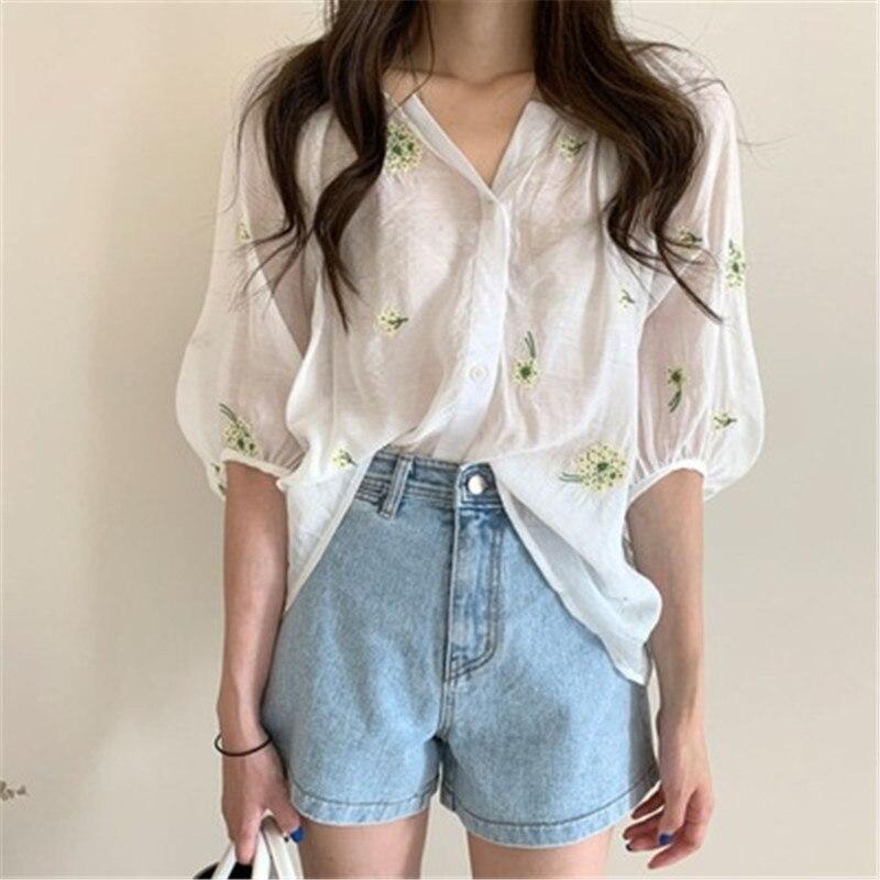 Купить женская блузка с рукавами фонариками свободная элегантная в