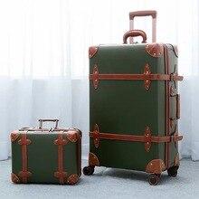 """CARRYLOVE 2"""" 24"""" 2"""" inc. Женская Ретро кожаная сумка для багажа spinner trunks box trolly винтажный чемодан на колесах"""