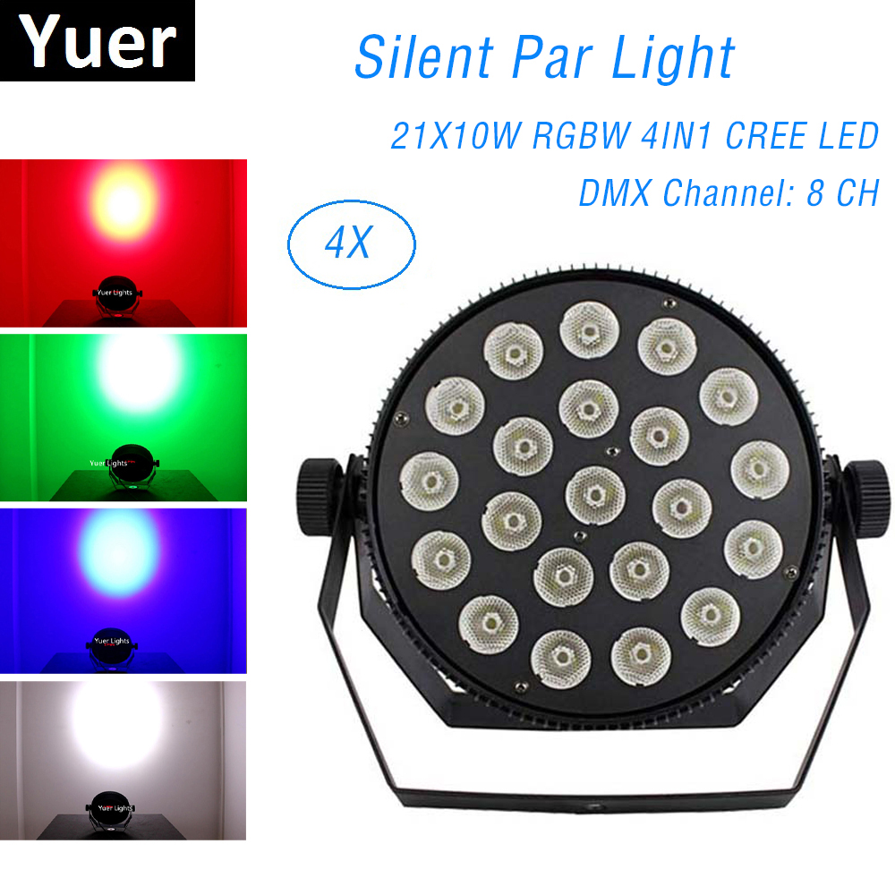 4Pcs/Lot Aluminum Alloy LED Flat Par 21X10W Lighting Dj Par Cans Silent Par Light DNX 512 Control Dj Wash Lighting Stage Light