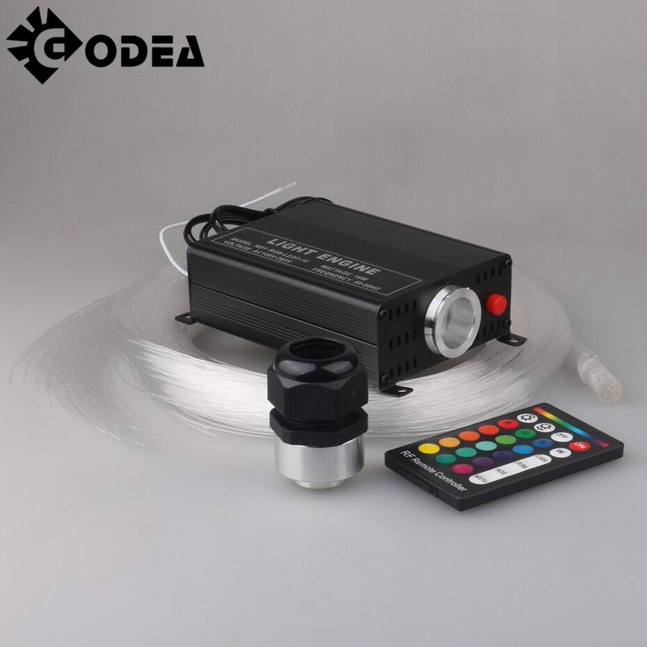 GODEA LED Optic Lights Star Ceiling Kit Light 16W RGBW 16 Color Changing 300pcs 0.75mm 2M End Glow Optical Fiber Engine Lighting