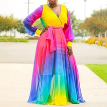 African Style Women Casual Deep V-Neck Color Block Maxi Dress Elegant Chic Bohemian Loose Vacation Dress 2019 Autumn Fashion color block pockets maxi dress