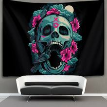 Flowers bird cool skull Wall Tapestry Hippie Art(China)