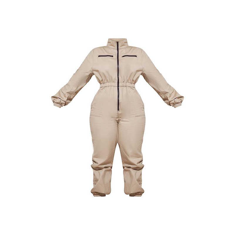 Kissmilk mujeres más tamaño sólido manga larga suelta cintura elástica Casual Dailywear Formal una pieza mono